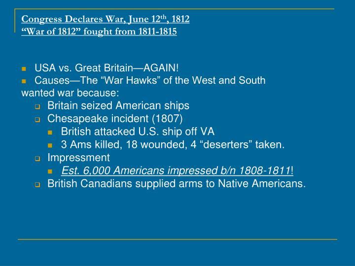 Congress Declares War, June 12