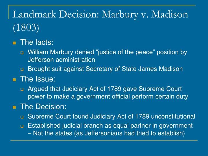 Landmark Decision: Marbury v. Madison (1803)