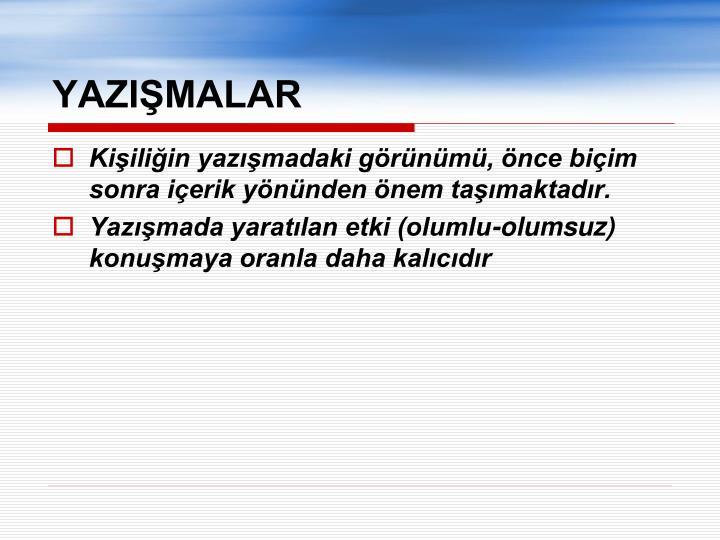 YAZIŞMALAR