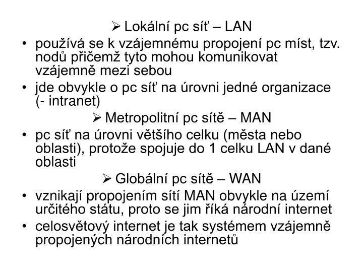 Lokální pc síť – LAN