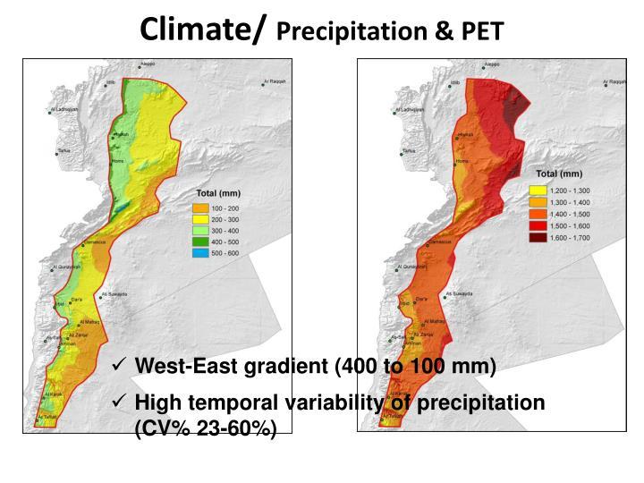 Climate precipitation pet