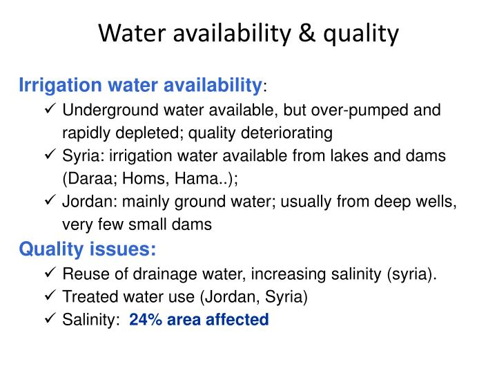 Water availability & quality