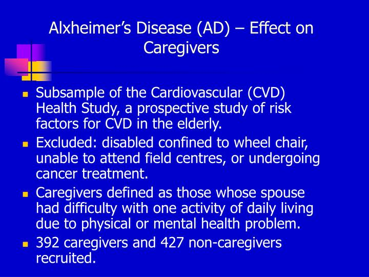 Alxheimer's Disease (AD) – Effect on Caregivers