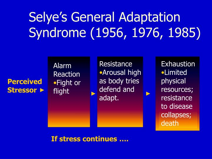 Selye's General Adaptation Syndrome (1956, 1976, 1985)