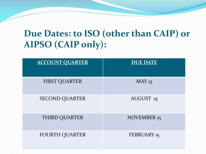 Due Dates: to ISO (other than CAIP) or AIPSO (CAIP only):