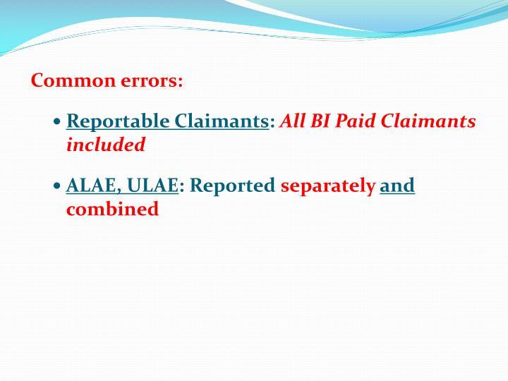 Common errors: