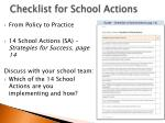 checklist for school actions
