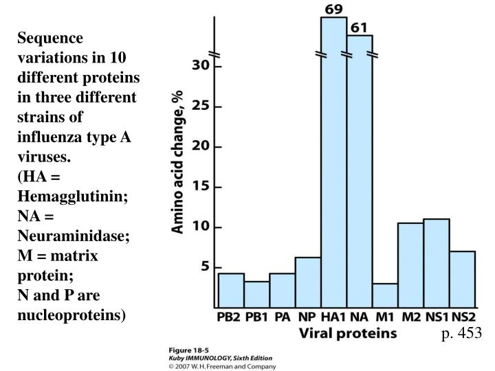 Sequence variations in 10 different proteins in three different strains of influenza type A viruses.