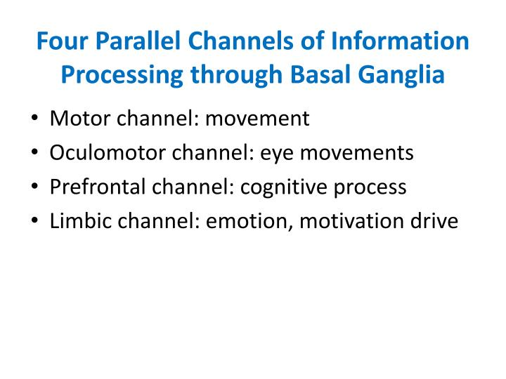 Four Parallel Channels of Information Processing through Basal Ganglia