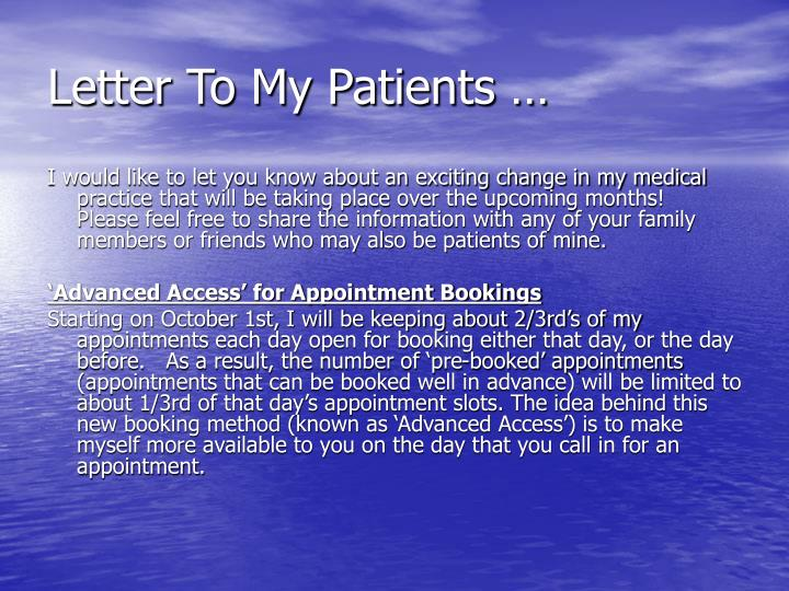 Letter To My Patients …