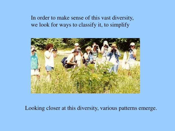 In order to make sense of this vast diversity, we look for ways to classify it, to simplify