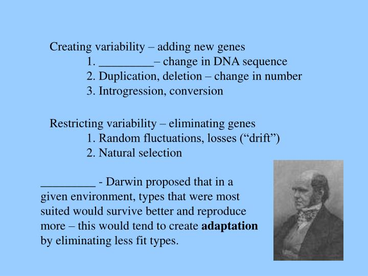 Creating variability – adding new genes