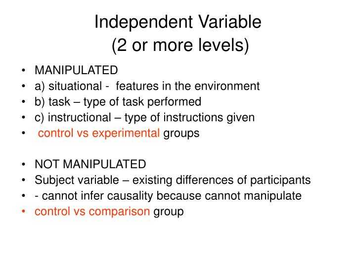 Independent variable 2 or more levels