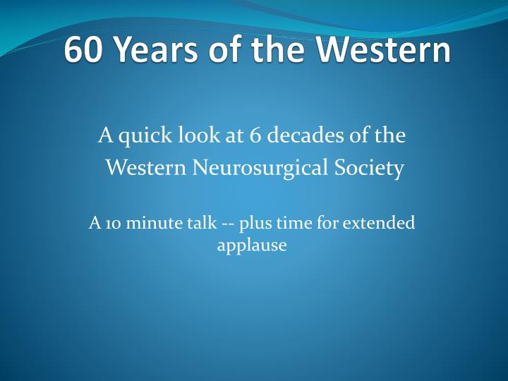 60 years of the western