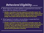 behavioral eligibility continued