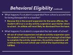 behavioral eligibility continued1