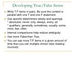 developing true false items