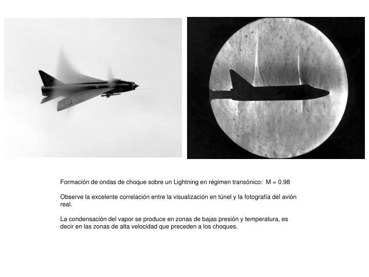Formación de ondas de choque sobre un Lightning en régimen transónico:  M = 0.98