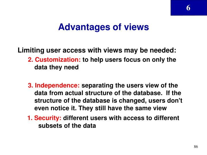 Advantages of views