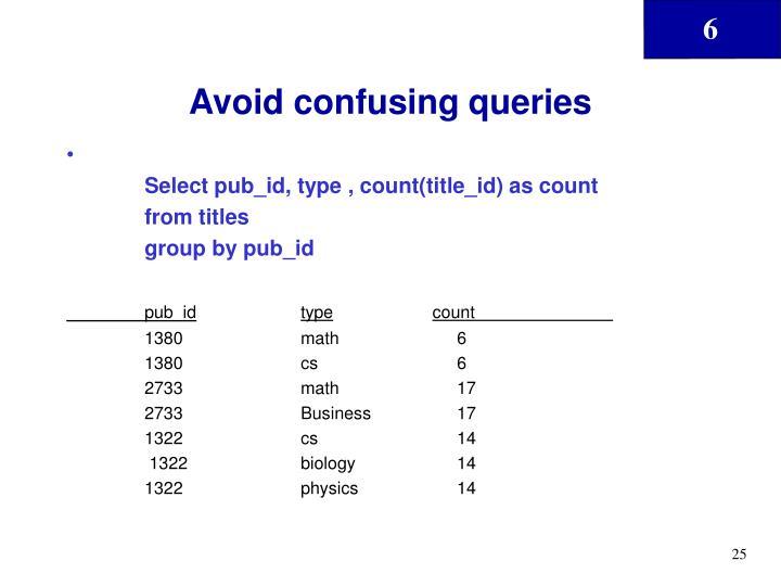 Avoid confusing queries