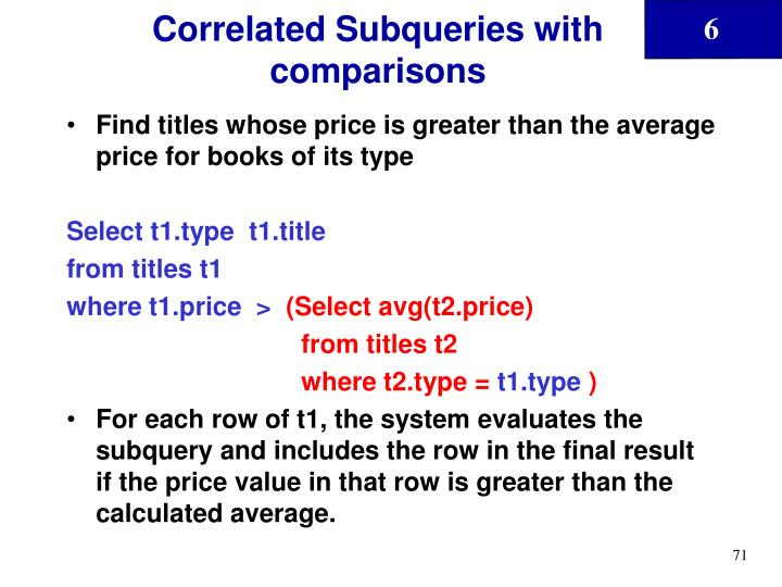 Correlated Subqueries with comparisons