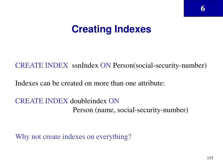 Creating Indexes