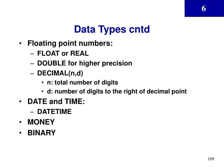 Data Types cntd