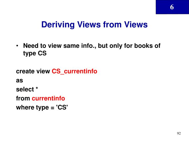 Deriving Views from Views