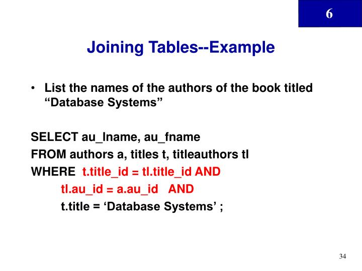 Joining Tables--Example