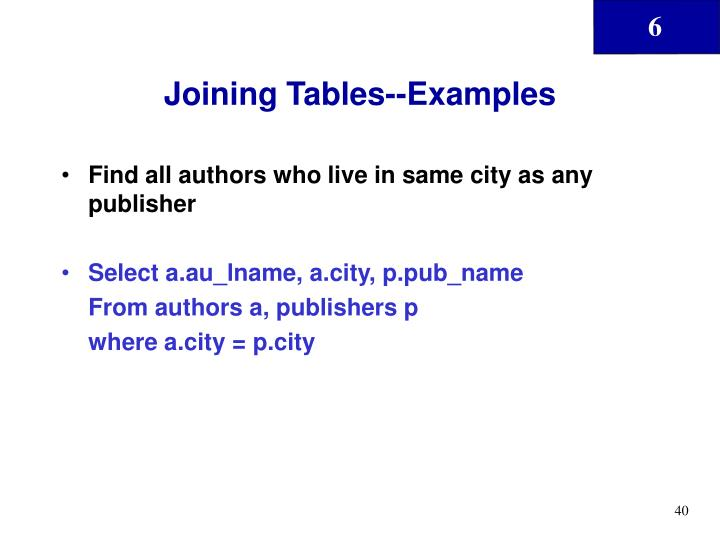 Joining Tables--Examples