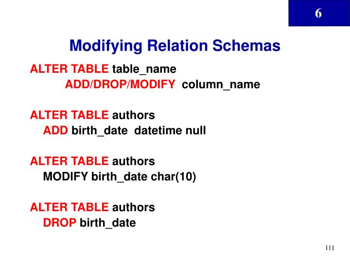 Modifying Relation Schemas