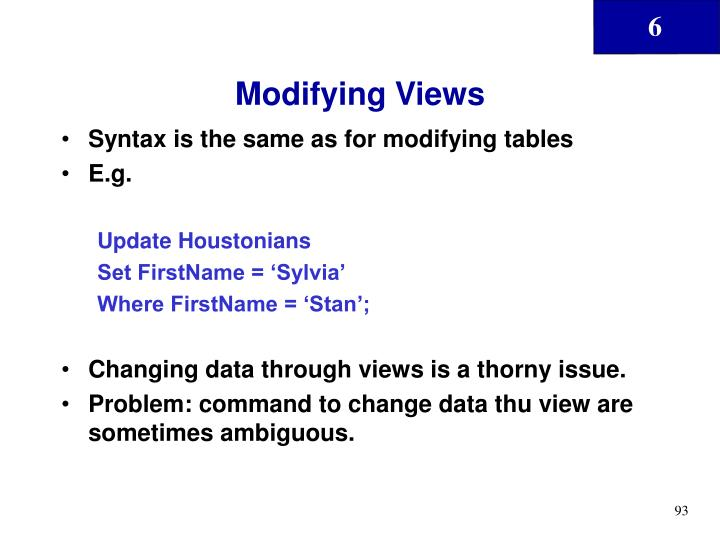 Modifying Views