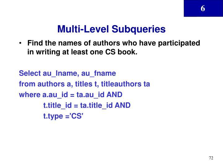 Multi-Level Subqueries