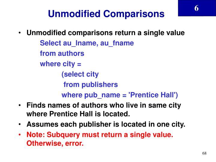 Unmodified Comparisons