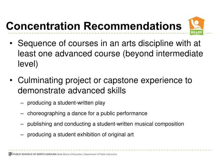 Concentration Recommendations