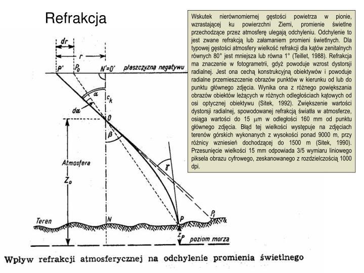 Wskutek nierównomiernej gęstości powietrza w pionie, wzrastającej ku powierzchni Ziemi, promienie świetlne przechodzące przez atmosferę ulegają odchyleniu. Odchylenie to jest zwane refrakcją lub załamaniem promieni świetlnych. Dla typowej gęstości atmosfery wielkość refrakcji dla kątów zenitalnych równych 80° jest mniejsza lub równa 1° (Teillet, 1988). Refrakcja ma znaczenie w fotogrametrii, gdyż powoduje wzrost dystorsji radialnej. Jest ona cechą konstrukcyjną obiektywów i powoduje radialne przemieszczenie obrazów punktów w kierunku od lub do punktu głównego zdjęcia. Wynika ona z różnego powiększania obrazów obiektów leżących w różnych odległościach kątowych od osi optycznej obiektywu (Sitek, 1992). Zwiększenie wartości dystorsji radialnej, spowodowanej refrakcją światła w atmosferze, osiąga wartości do 15