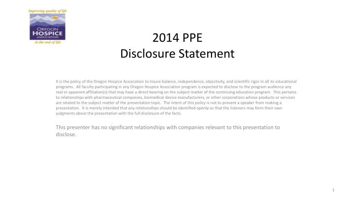 2014 ppe disclosure statement n.