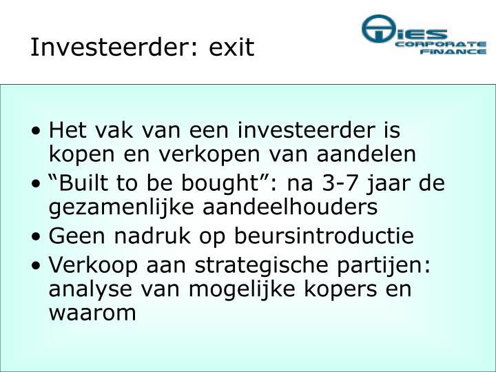 Investeerder: exit