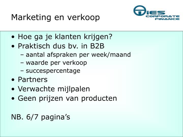 Marketing en verkoop