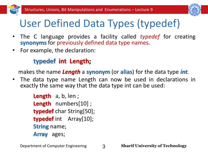 User defined data types in programming languages