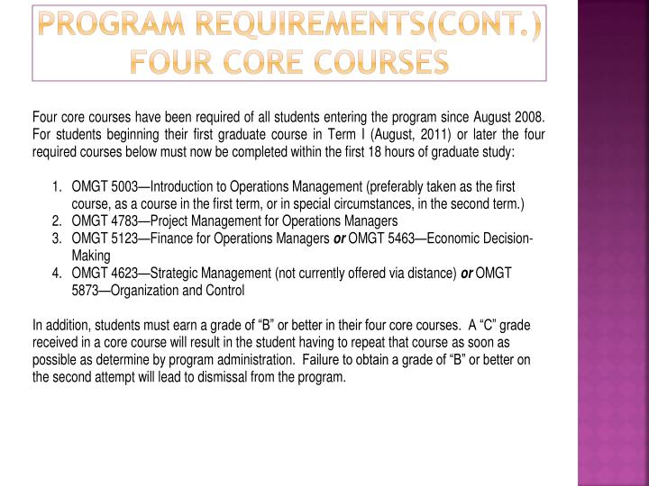 Program Requirements(cont.)