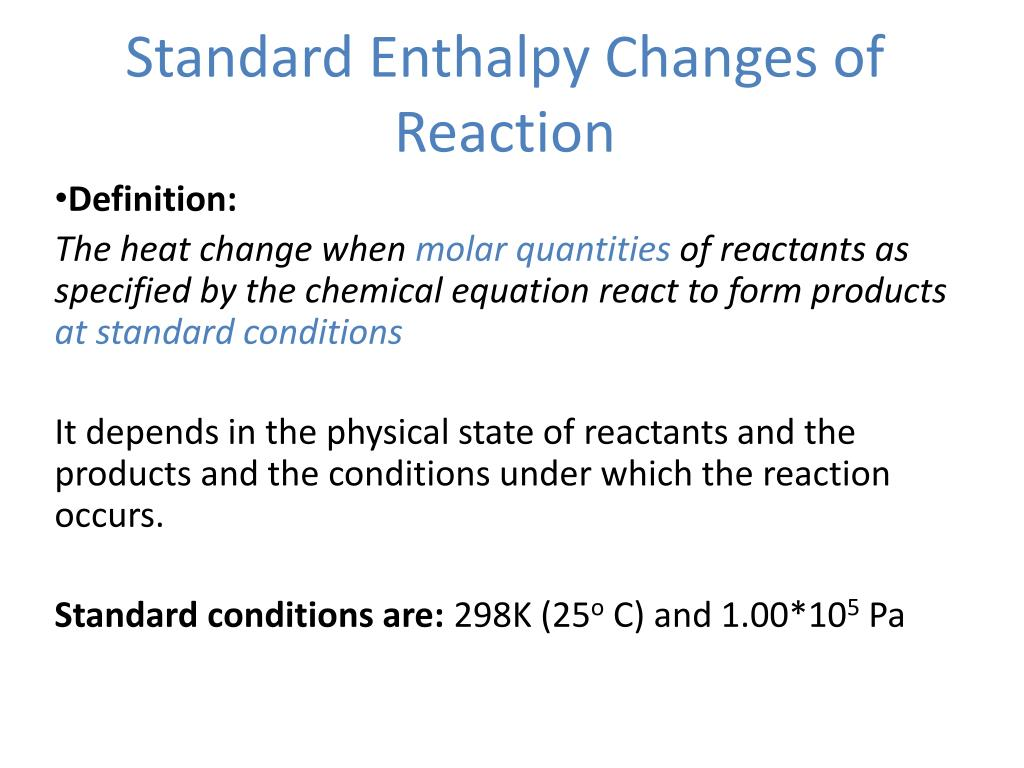 PPT - Chapter 15 - Standard enthalpy change of a reaction ...