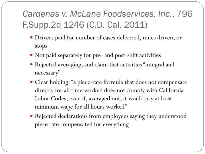 Cardenas v. McLane Foodservices, Inc.