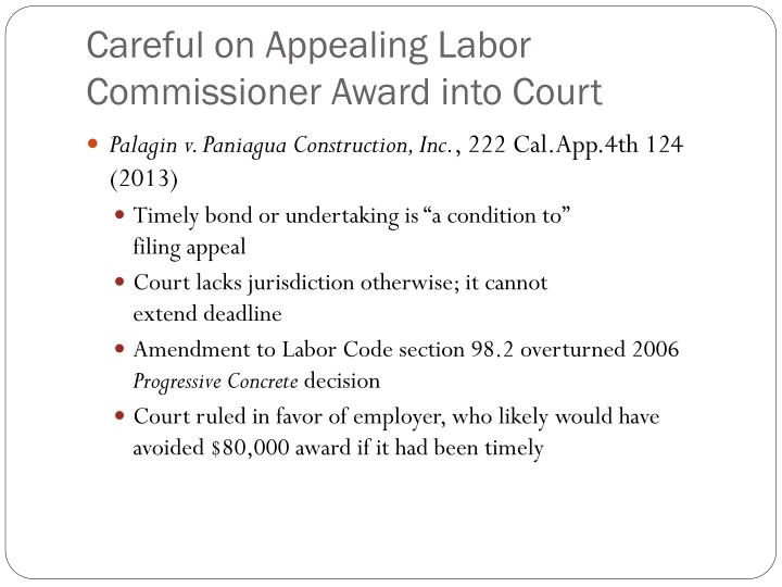 Careful on Appealing Labor Commissioner Award into Court