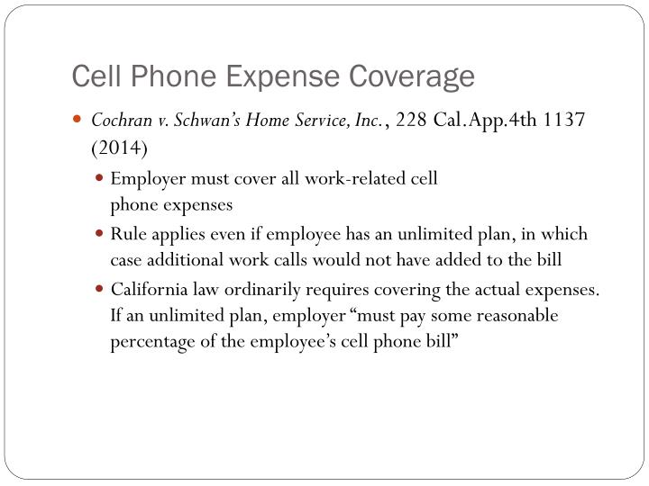 Cell Phone Expense Coverage
