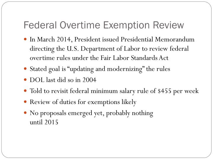 Federal Overtime Exemption Review