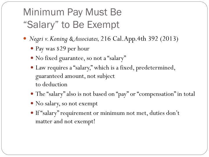 Minimum Pay Must Be