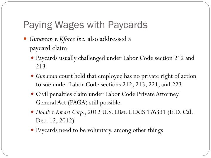 Paying Wages with Paycards