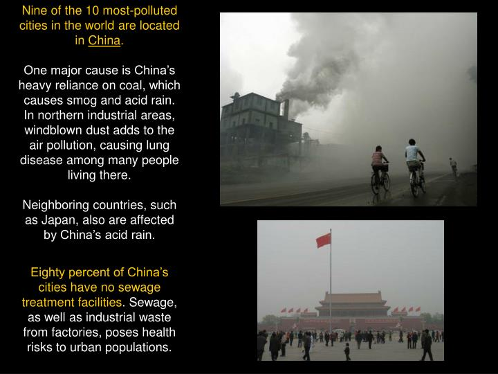 Nine of the 10 most-polluted cities in the world are located in