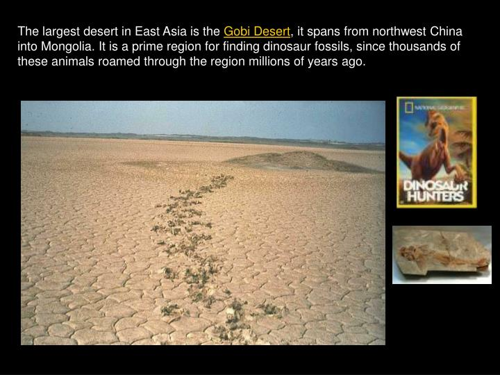 The largest desert in East Asia is the